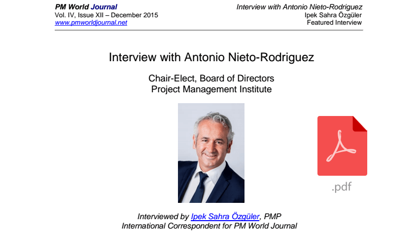 Future of Project Management - interview with Antonio Nieto-Rodriguez